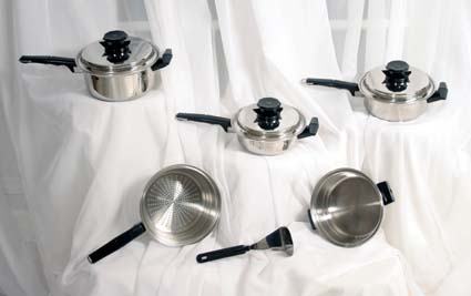 9-piece waterless cookware